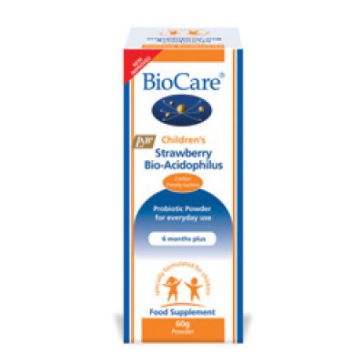 Childrens Strawberry Acidophilus Powder Biocare 60G Probiotic