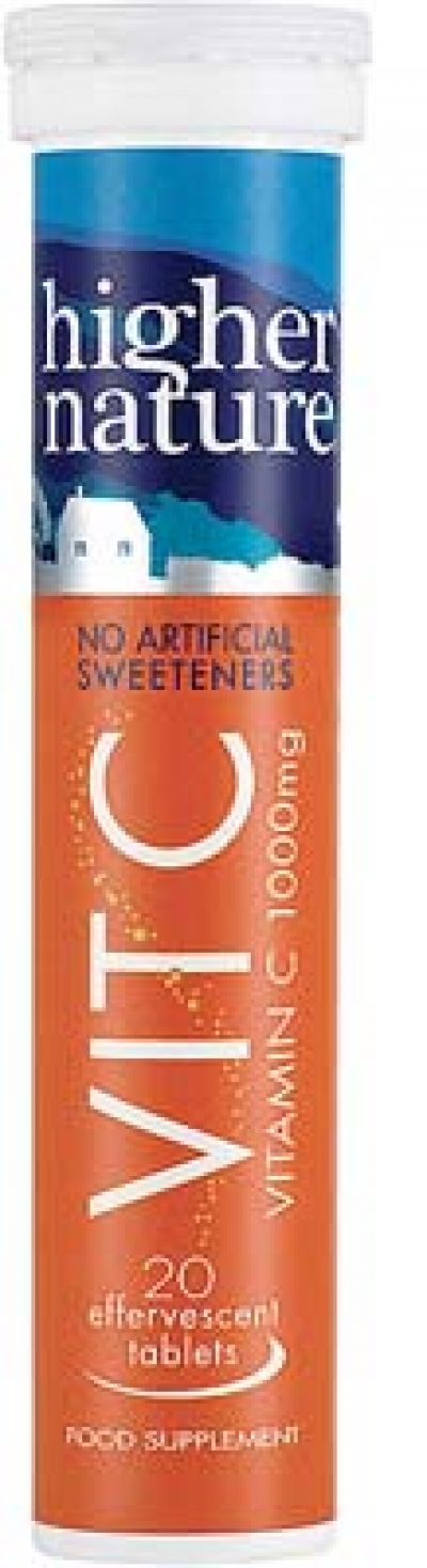 Fizzy Vitamin C 1000mg  Additive Free 20 Effervecent Tablets Higher Nature