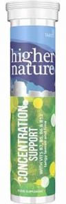 Higher Nature Concentration Support Lemon & Lime 10 effervescent tablets